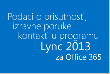 Podaci o prisutnosti, izravne poruke i kontakti u programu Lync za Office 365