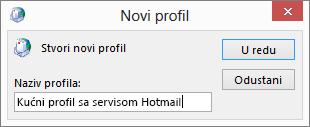 Novi dijaloški okvir profila