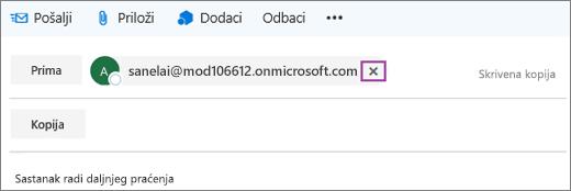Snimka zaslona prikazuje redak Primatelj u poruci e-pošte s mogućnošću brisanja adrese e-pošte primatelja.