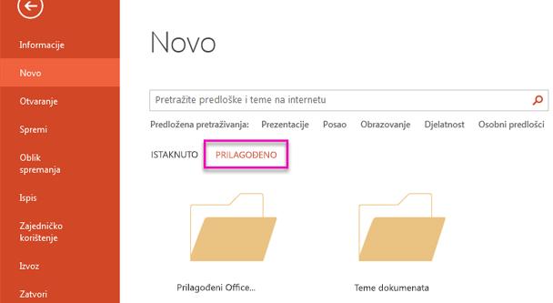 Na stranici Nova datoteka odaberite Prilagođeno da biste pristupili predložak koji ste stvorili.