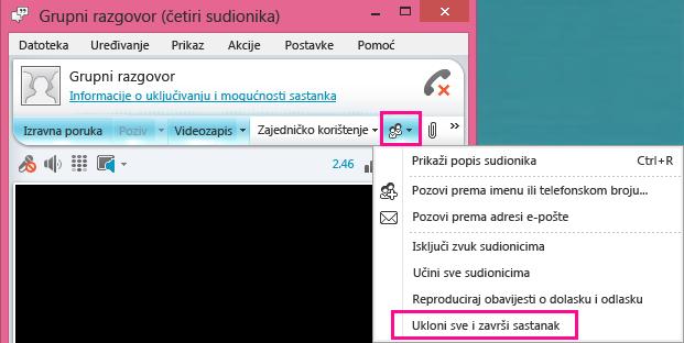 Snimka zaslona s gumbom Završi sastanak
