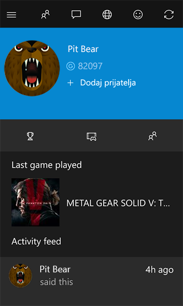 Profil imena igrača za Xbox