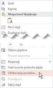 Desnom tipkom miša kliknite minijaturu slajda da biste dodali pozadinsku sliku na slajd
