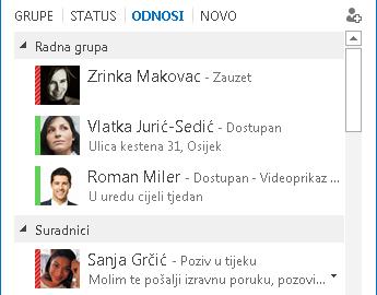 Snimka zaslona sa sortiranjem kontakata prema odnosu