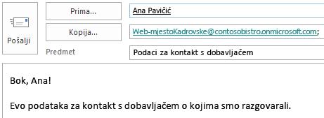 Poruka e-pošte s poštanskim sandučićem web-mjesta u polju kopije.
