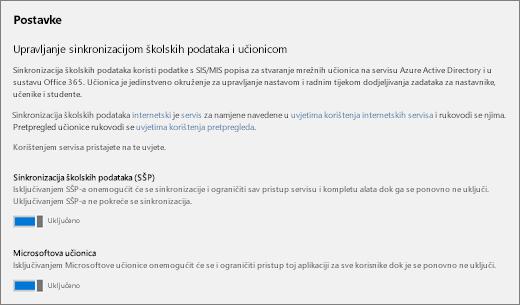 Snimka zaslona od postavke sinkronizacije podataka obrazovne ustanove, za isključivanje sinkronizacije podataka obrazovne ustanove.