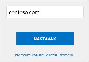 Snimka zaslona koristite vlastitu stranicu domene.