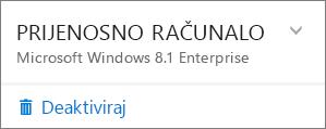 Snimka zaslona deaktivacije za instalaciju sustava O365 za tvrtke