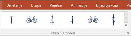 Galerija Prikazi 3D modela pruža vam praktične zadane postavke za uređenje prikaza 3D slike