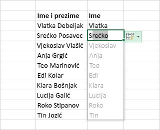 Ispunjavanje stupca podataka predloženim unosima