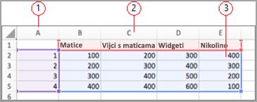 Polja podataka u programu Excel