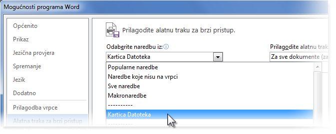 Prilagodba alatne trake za brzi pristup dodavanjem naredbi na karticu Datoteka