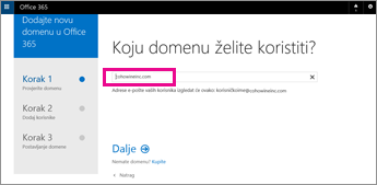 Unesite domenu koju želite koristiti u sustavu Office 365