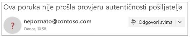 Neprovjereni pošiljatelja u programu Outlook