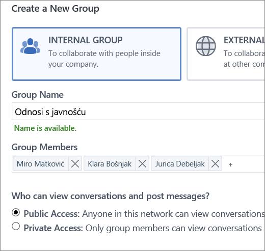 Stvaranje grupe