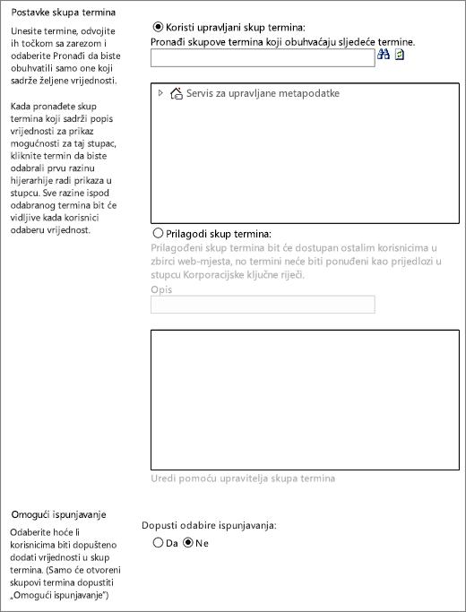 Mogućnosti za stupac upravljanih metapodataka