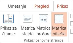 Prikaz matrice bilješki