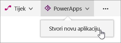 Stavka izbornika PowerApp naredbenoj traci pomoću aplikacije za stvaranje Power istaknut.