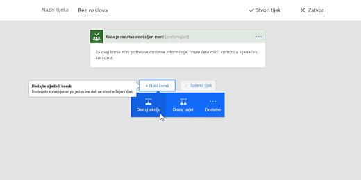 Snimka zaslona na kojoj se prikazuje odabrana mogućnost Dodaj akciju