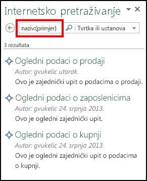 Okno Internetsko pretraživanje u dodatku Power Query