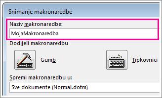 Okvir za naziv makronaredbe