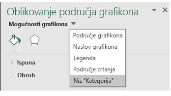 Odabir niza mogućnosti za karte grafikona u programu Excel