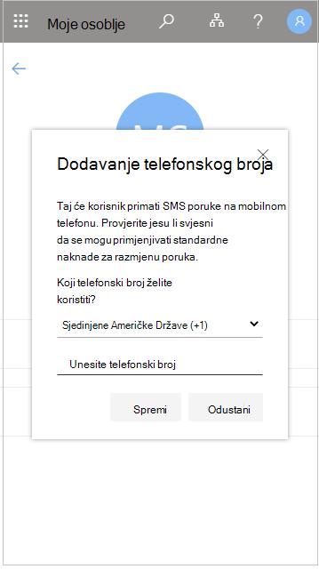 Dodavanje telefonskog broja korisnika u moje osoblje
