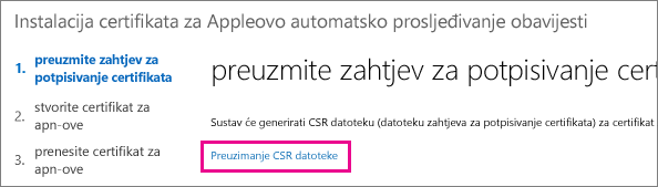 Download the certificate signing request file.