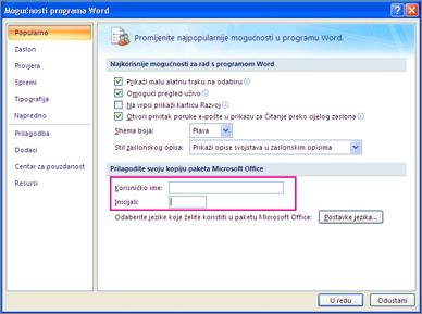 Mogućnosti programa Word 2007 prilagodite