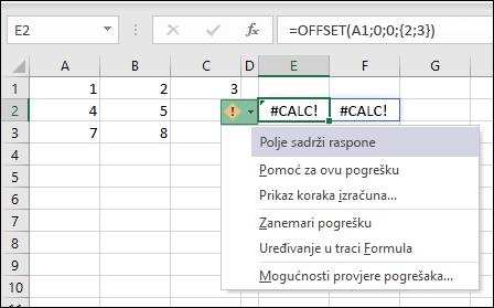 #CALC! Pogreška – polje sadrži raspone