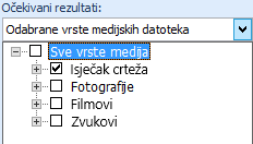 U okviru Rezultati moraju biti odaberite vrste medijskih sadržaja koje želite obuhvatiti rezultatima pretraživanja: