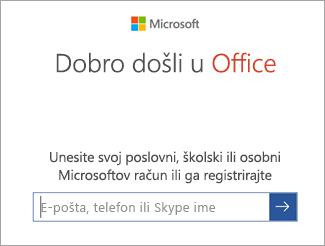 Unesite adresu e-pošte za Microsoftov račun ili račun za Office 365
