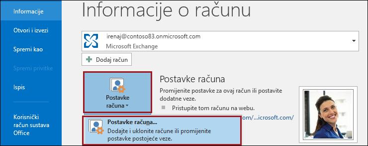 Postavke računa u programu Outlook