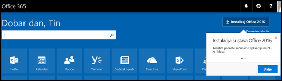 Pokazuje zaslon netom nakon prijave na Office.com. Odaberite Instaliraj Office (gornji desni kut zaslona) da biste na računalo instalirali aplikacije kao što su Word, Excel i PowerPoint.