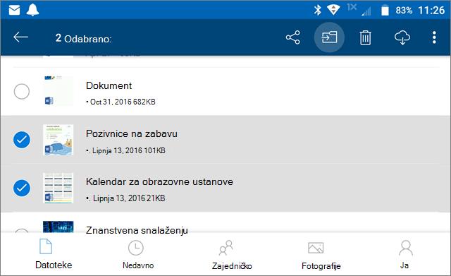 Premještanje datoteka na servisu OneDrive