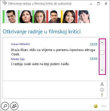 Snimka zaslona sobe za razgovor s istaknutim klizačem koji omogućuje pregledavanje povijesti