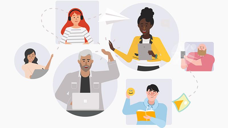 Ilustracija raznih ljudi koji koriste aplikaciju Teams