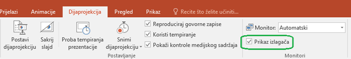 Kartica Dijaprojekcija u programu PowerPoint ima potvrdni okvir da biste upravljali li prikaz izlagača koristi se kada prikazujete prezentacije drugim korisnicima.