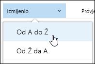 Sortiranje prikaza biblioteke dokumenata u Office 365