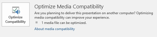 gumb Optimiziraj kompatibilnost u programu PowerPoint