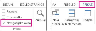 Slika koja prikazuje potvrdni okvir Navigacijsko okno u odjeljku Prikaz