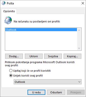 List sa svojstvima pošte putem kojega se dodaje ili uklanja profil računa za Outlook.