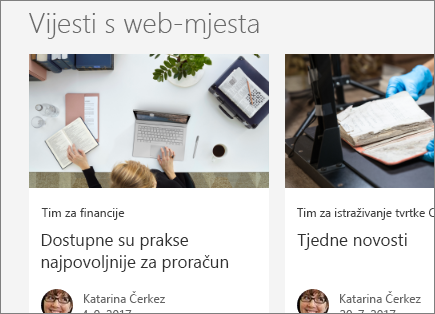 SharePoint Office 365 Vijesti s web-mjesta