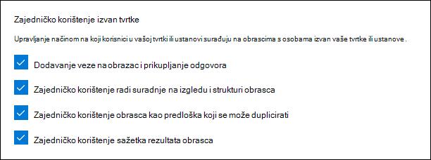 Postavke administratora programa Microsoft Forms za vanjsko zajedničko korištenje