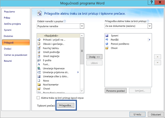 Gumb Prilagodba u odjeljku Mogućnosti programa Word - Prilagodba okna