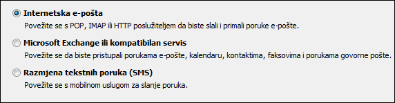 Odabir servisa programa Outlook 2010 za novi račun