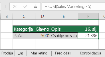 Referenca formuli za 3D list programa Excel