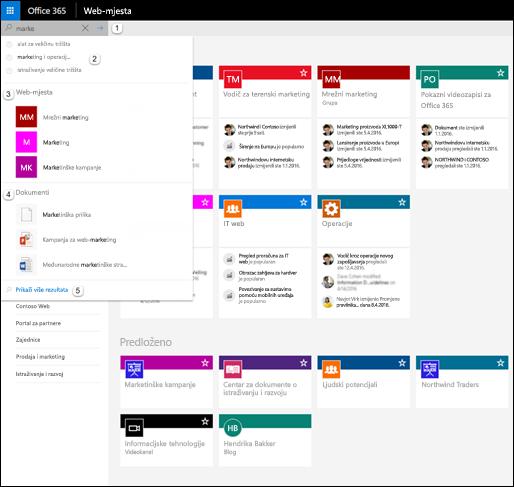 Pretraživanje sustava Office365