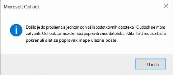 Nešto nije u redu s jednom od podatkovnih datoteka, a Outlook se mora zatvarati.