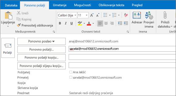 Snimka zaslona prikazuje mogućnost Pošalji ponovno za poruku e-pošte. U polju Pošalji ponovno adresu primatelja navela je značajka automatskog ispunjavanja.